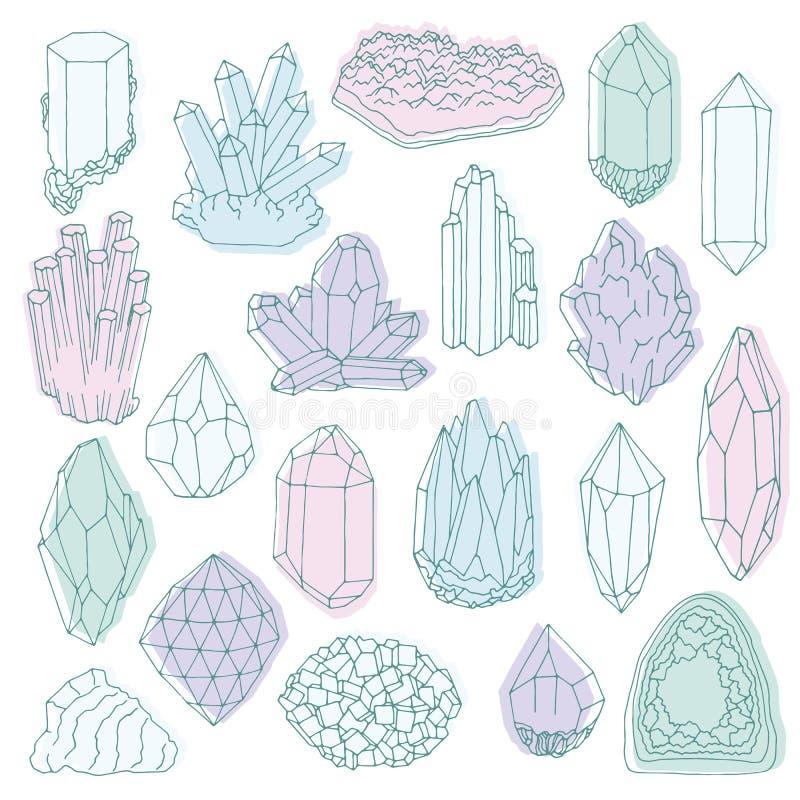 Linea disegnata a mano cristallo, minerale, gemma royalty illustrazione gratis