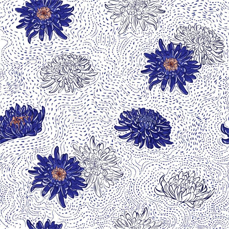 Linea disegnata a mano di fioritura illustrazione senza cuciture dei pois dei fiori giapponesi blu del crisantemo del modello del illustrazione vettoriale