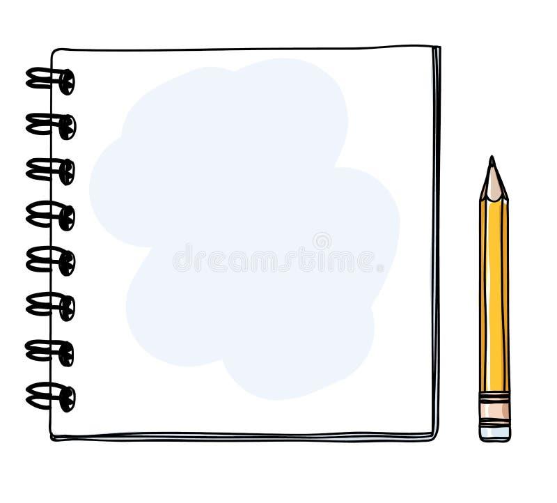 Linea disegnata a mano e gialla illus del mini taccuino della matita di vettore di arte illustrazione vettoriale