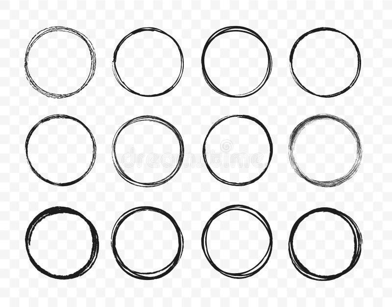 Linea disegnata a mano stabilita insieme del cerchio di schizzo I cerchi rotondi di scarabocchio circolare dello scarabocchio per illustrazione di stock