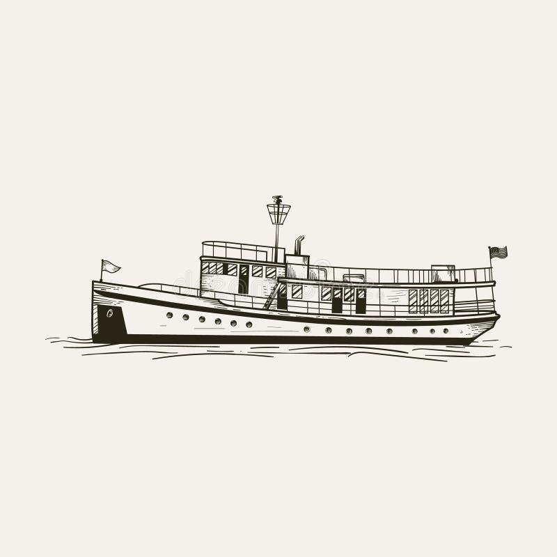 Linea disegnata a mano vettore della nave di arte fotografie stock