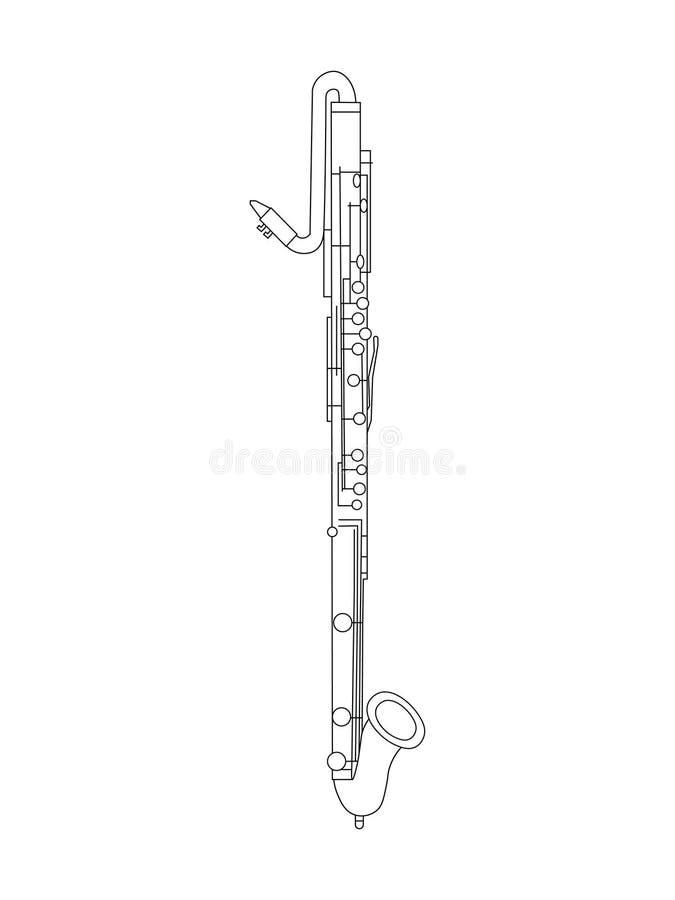 Linea disegno di arte dell'eb contro l'illustrazione di Alto Clarinet illustrazione di stock