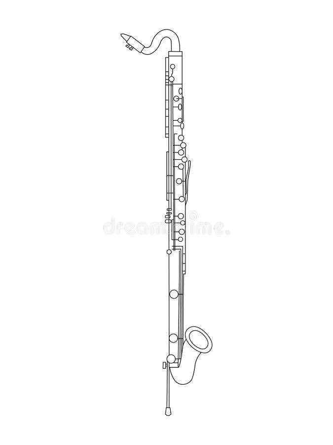 Linea disegno di arte dell'illustrazione di Bass Clarinet royalty illustrazione gratis