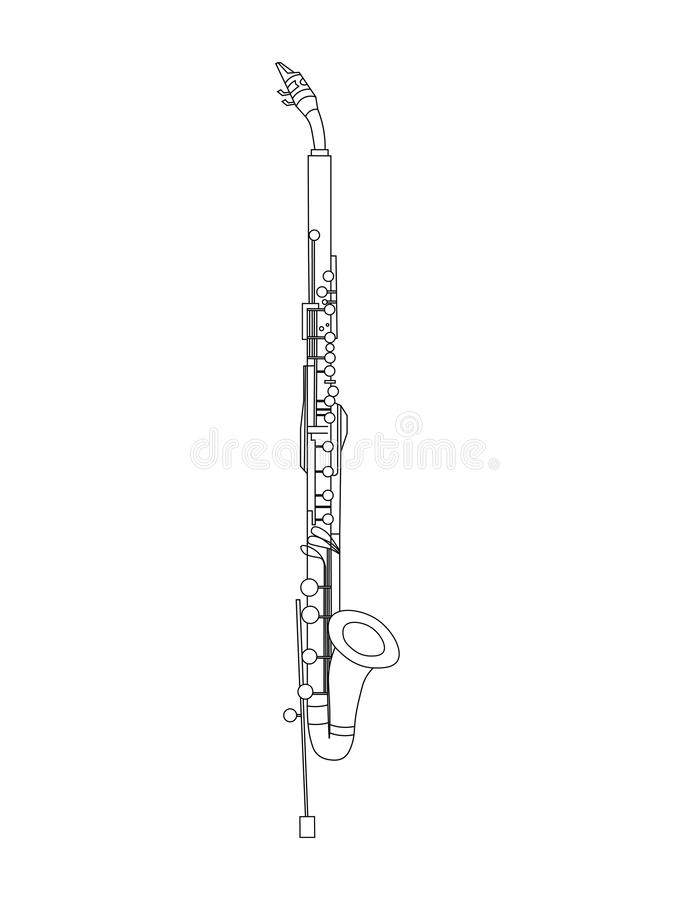 Linea disegno di arte dell'illustrazione di eb Alto Clarinet royalty illustrazione gratis