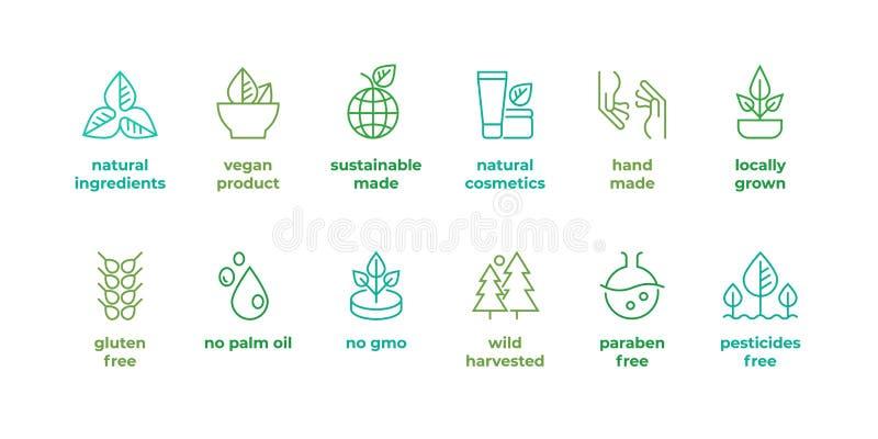 Linea distintivo di Eco Logos fatto a mano di eco, simboli organici naturali dell'alimento del vegano dei cosmetici, glutine line illustrazione vettoriale