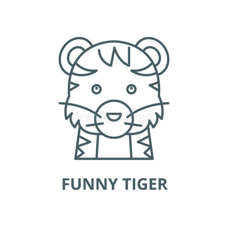 Linea divertente icona, concetto lineare, segno del profilo, simbolo di vettore della tigre royalty illustrazione gratis