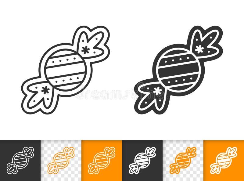 Linea dolce icona della caramella del biscotto del pan di zenzero di vettore illustrazione di stock