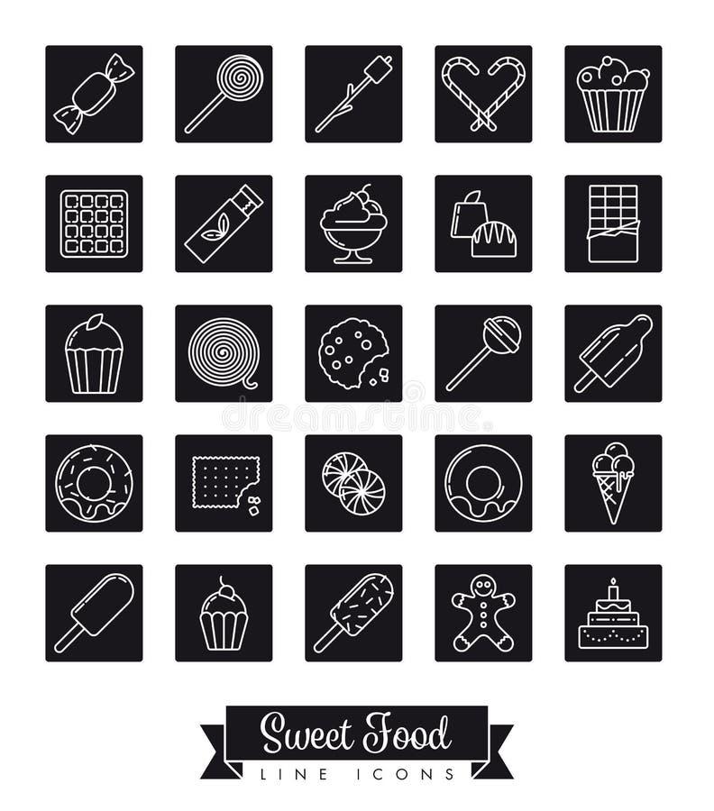 Linea dolce insieme del nero del quadrato dell'alimento dell'icona royalty illustrazione gratis