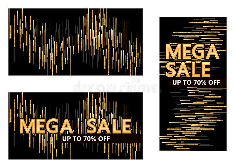 Linea dorata modello mega di scintillio di vendita di goccia illustrazione di stock