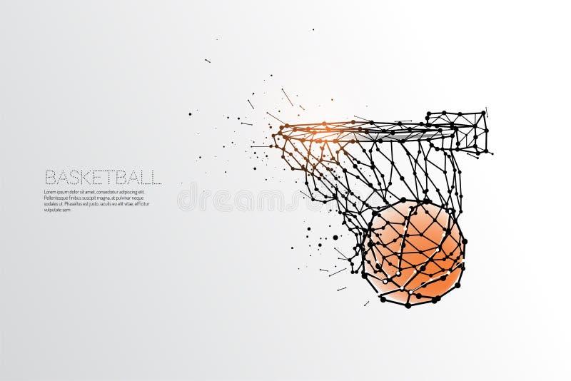 Linea e punto di fucilazione di pallacanestro illustrazione di stock