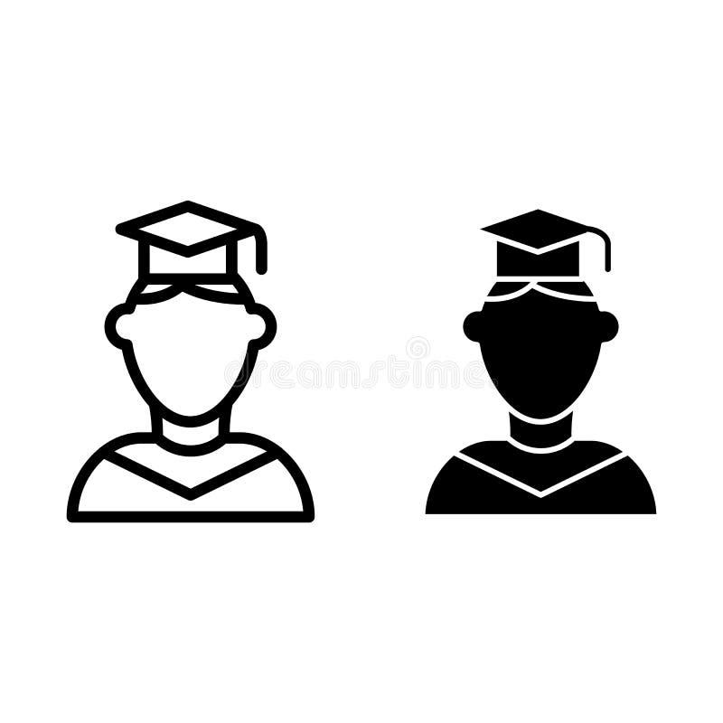 Linea ed icona laureate di glifo Persona nell'illustrazione laureata di vettore del cappello isolata su bianco Studente in cappuc illustrazione vettoriale