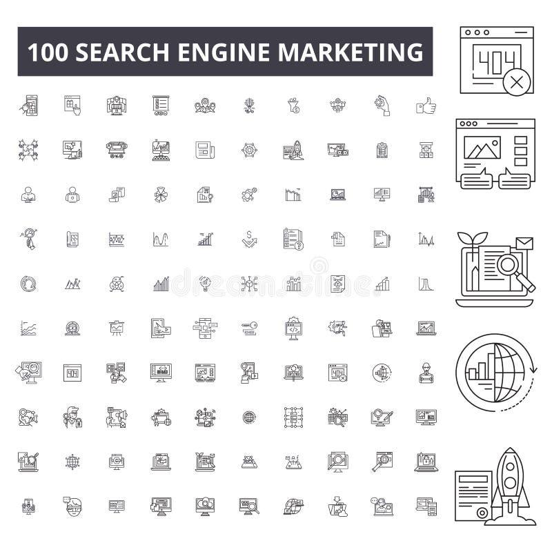 Linea editabile icone, un insieme di 100 vettori, raccolta di posizionamento Profilo nero di posizionamento royalty illustrazione gratis