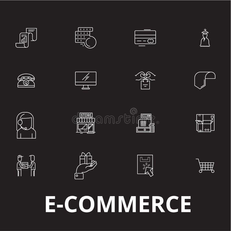 Linea editabile insieme di commercio elettronico di vettore delle icone su fondo nero Illustrazioni bianche del profilo di commer royalty illustrazione gratis