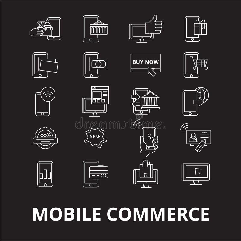 Linea editabile insieme di commercio mobile di vettore delle icone su fondo nero Illustrazioni bianche del profilo di commercio m royalty illustrazione gratis