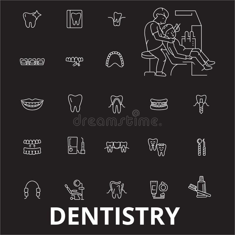 Linea editabile insieme di odontoiatria di vettore delle icone su fondo nero Illustrazioni bianche del profilo di odontoiatria, s royalty illustrazione gratis