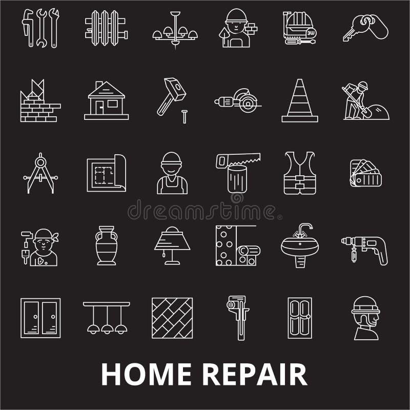 Linea editabile insieme di riparazione domestica di vettore delle icone su fondo nero Illustrazioni bianche del profilo di ripara illustrazione vettoriale