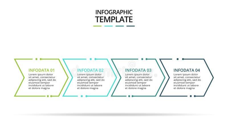Linea elemento sottile per infographic Modello per il diagramma, il grafico, la presentazione ed il grafico Concetto con 4 opzion illustrazione di stock