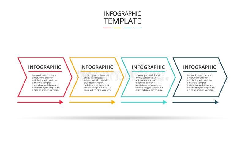 Linea elemento sottile per infographic Modello per il diagramma, il grafico, la presentazione ed il grafico Concetto con 4 opzion royalty illustrazione gratis