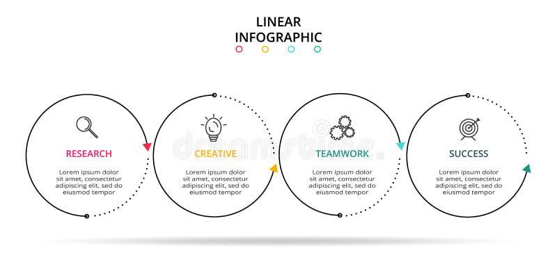 Linea elemento sottile per infographic Modello per il diagramma, il grafico, la presentazione ed il grafico Concetto con 4 opzion illustrazione vettoriale