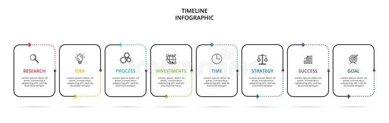 Linea elemento sottile per infographic Modello per il diagramma, il grafico, la presentazione ed il grafico Concetto con 8 opzion royalty illustrazione gratis