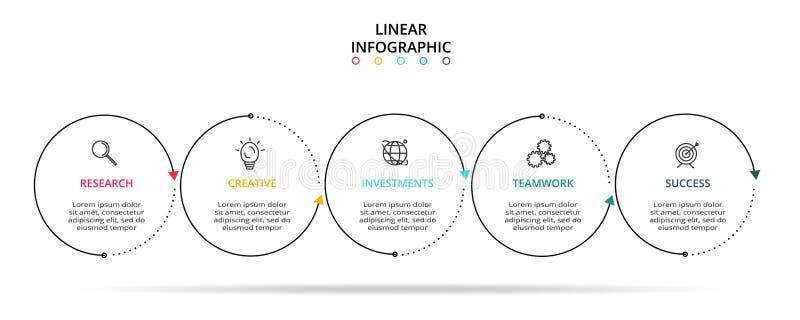 Linea elemento sottile per infographic Modello per il diagramma, il grafico, la presentazione ed il grafico Concetto con 5 opzion royalty illustrazione gratis