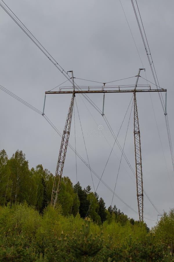 Linea elettrica ad alta tensione Eliminando nella foresta siberiana mista, la Russia immagini stock