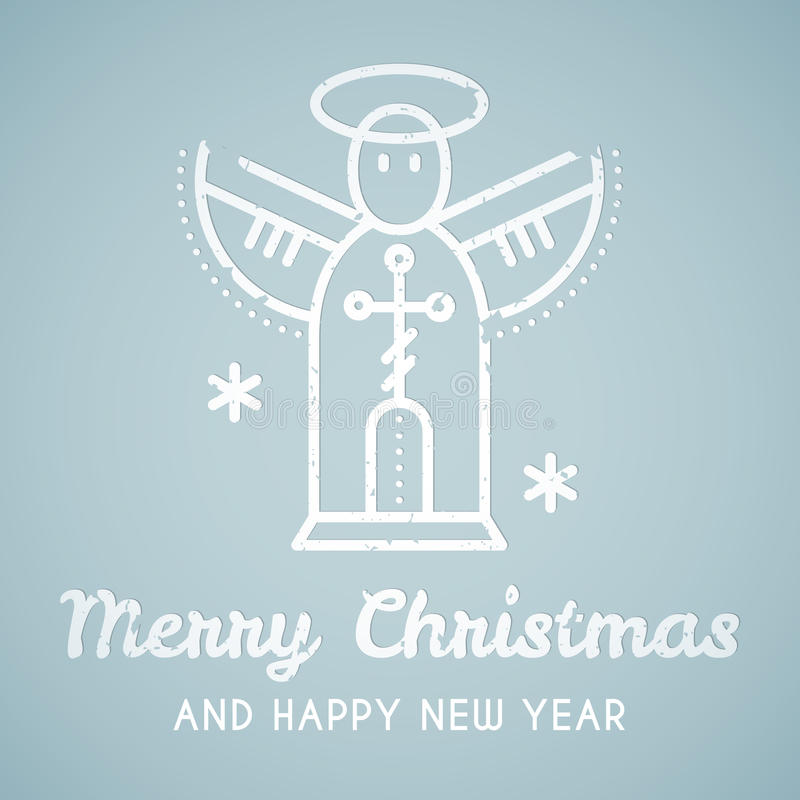 Linea emblema di stile con l'angelo stilizzato di Natale royalty illustrazione gratis