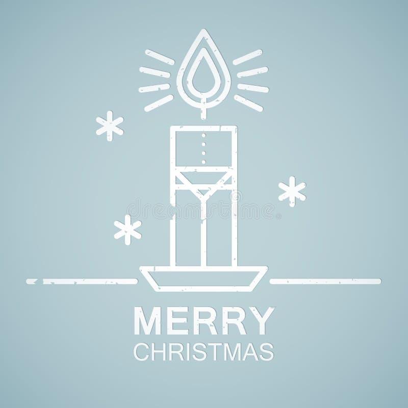Linea emblema di stile con la candela stilizzata di Natale illustrazione di stock