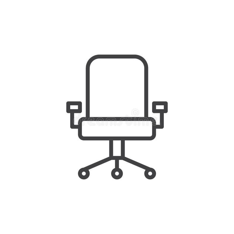 Linea esecutiva icona, segno di vettore del profilo, pittogramma lineare del sedile di stile isolato su bianco illustrazione di stock