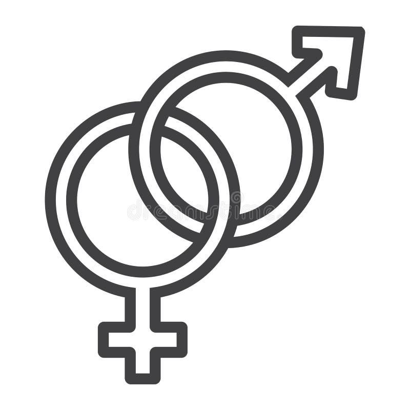 Linea eterosessuale icona, giorno di biglietti di S. Valentino illustrazione di stock