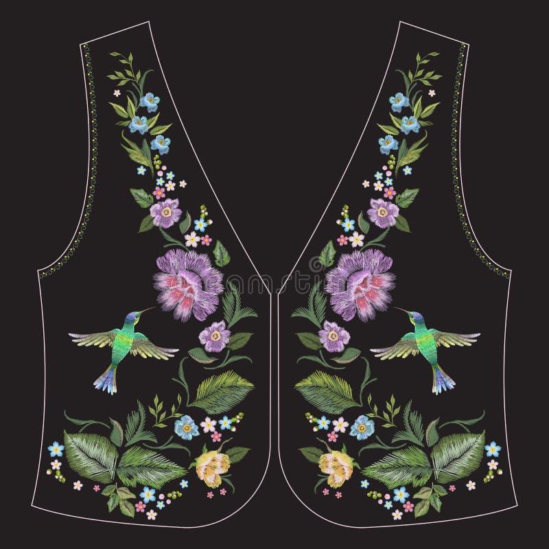 Linea etnica modello floreale del collo del ricamo con il colibrì e illustrazione vettoriale