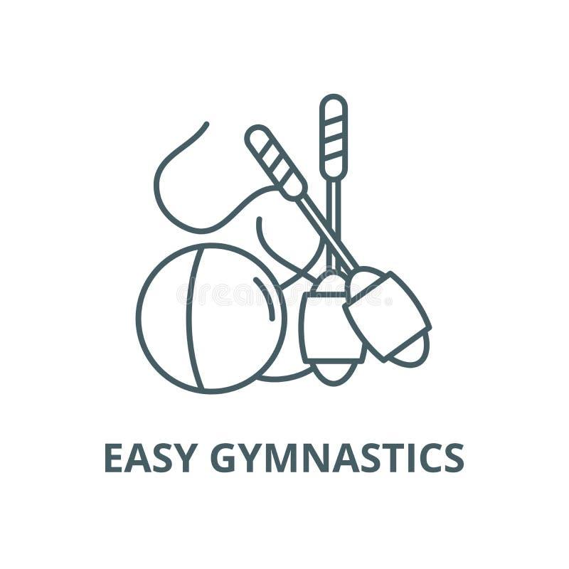 Linea facile icona, concetto lineare, segno del profilo, simbolo di vettore di ginnastica royalty illustrazione gratis