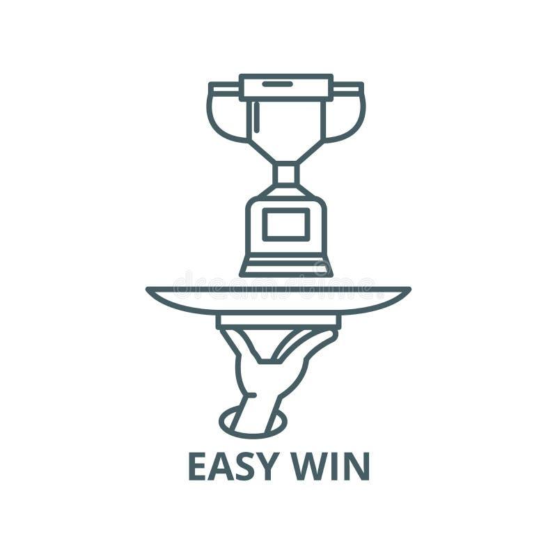 Linea facile icona, concetto lineare, segno del profilo, simbolo di vettore di vittoria illustrazione di stock