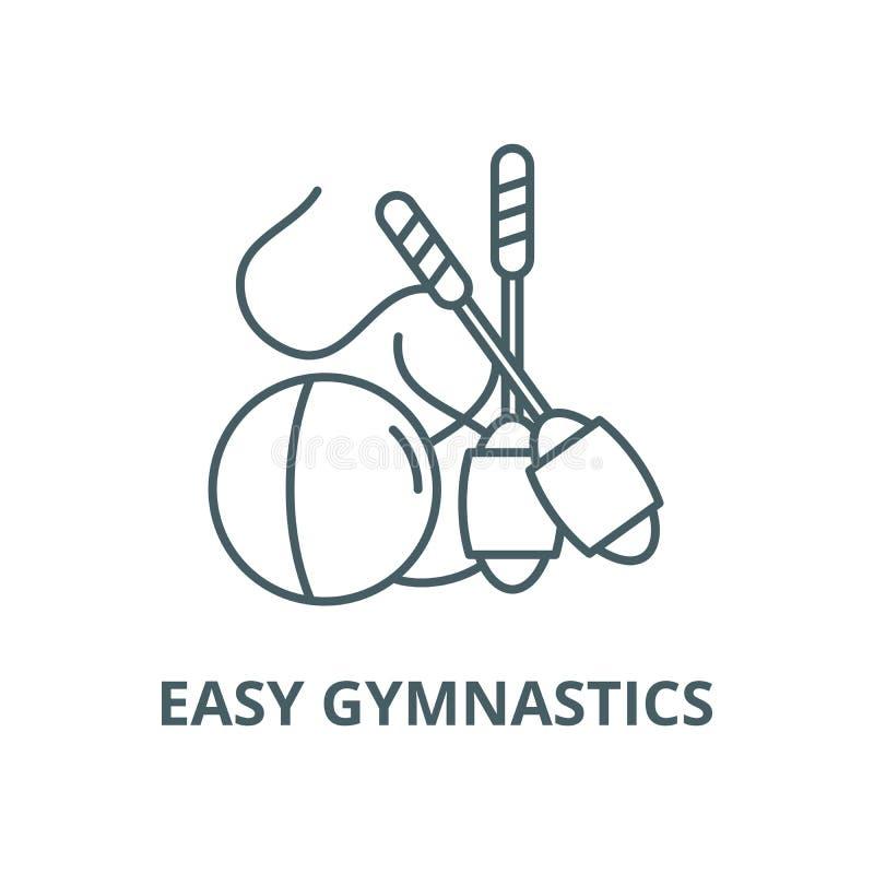 Linea facile icona, vettore di ginnastica Segno facile del profilo di ginnastica, simbolo di concetto, illustrazione piana illustrazione vettoriale
