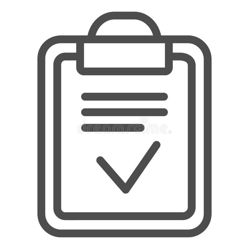 Linea fatta lavagna per appunti icona Illustrazione fatta di vettore della lista isolata su bianco Carta con progettazione di sti illustrazione di stock
