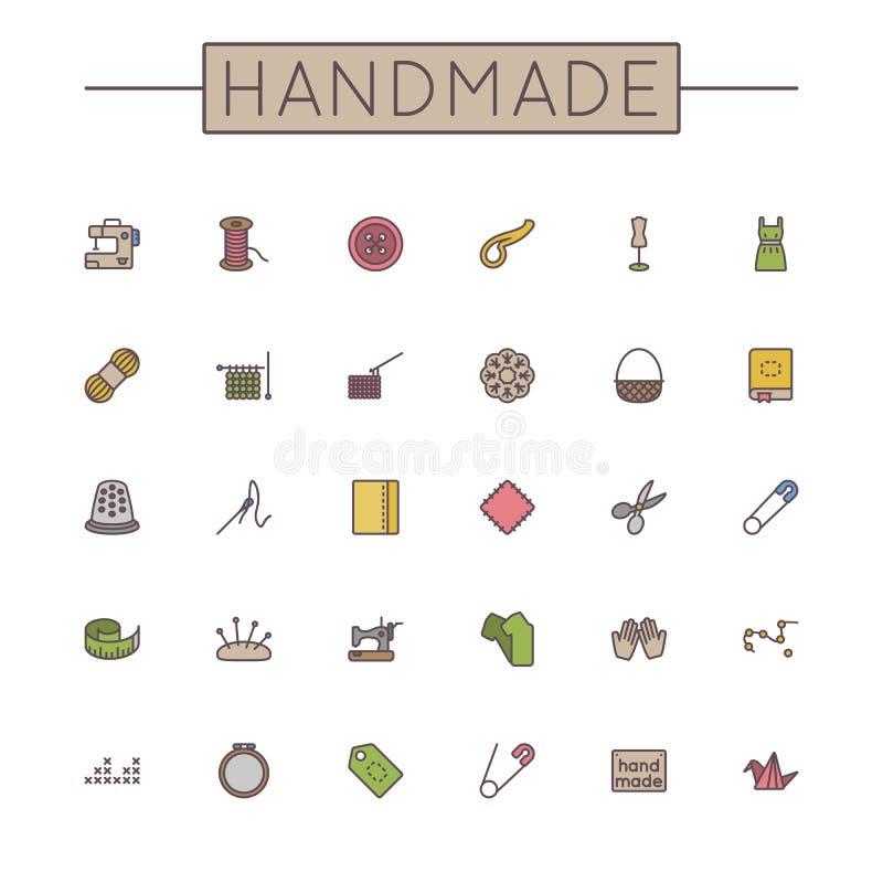 Linea fatta a mano colorata vettore icone illustrazione di stock
