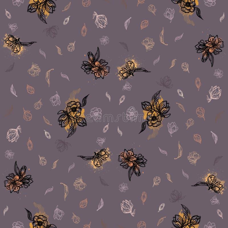 Linea fiori su un fondo grigio royalty illustrazione gratis