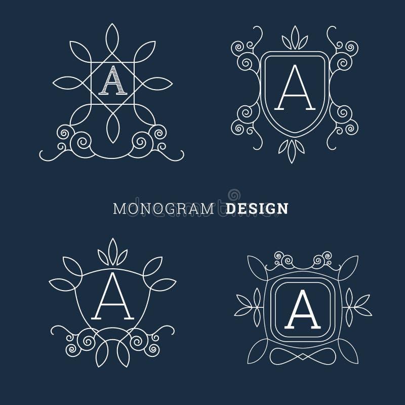 Linea floreale semplice illustrazione del monogramma di vettore di logo di stile di arte illustrazione vettoriale