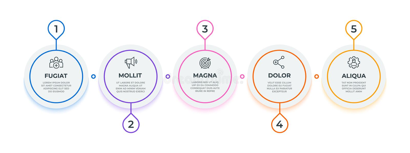 Linea flusso infographic 5 punti circondano il diagramma di flusso di lavoro, modello della presentazione di affari della pietra  illustrazione di stock