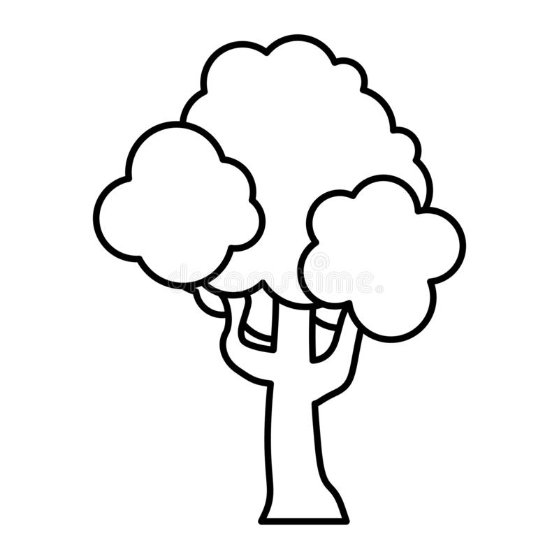 Linea foglie dei rami del gambo dell'albero della natura illustrazione di stock