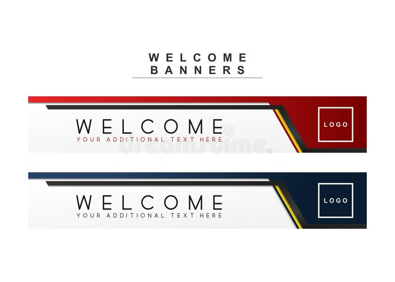 Linea futura modello di vettore della marina delle insegne marrone rossiccio rosso e blu di benvenuto immagine stock