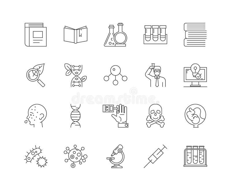 Linea genetica icone, segni, insieme di vettore, concetto dell'illustrazione del profilo royalty illustrazione gratis