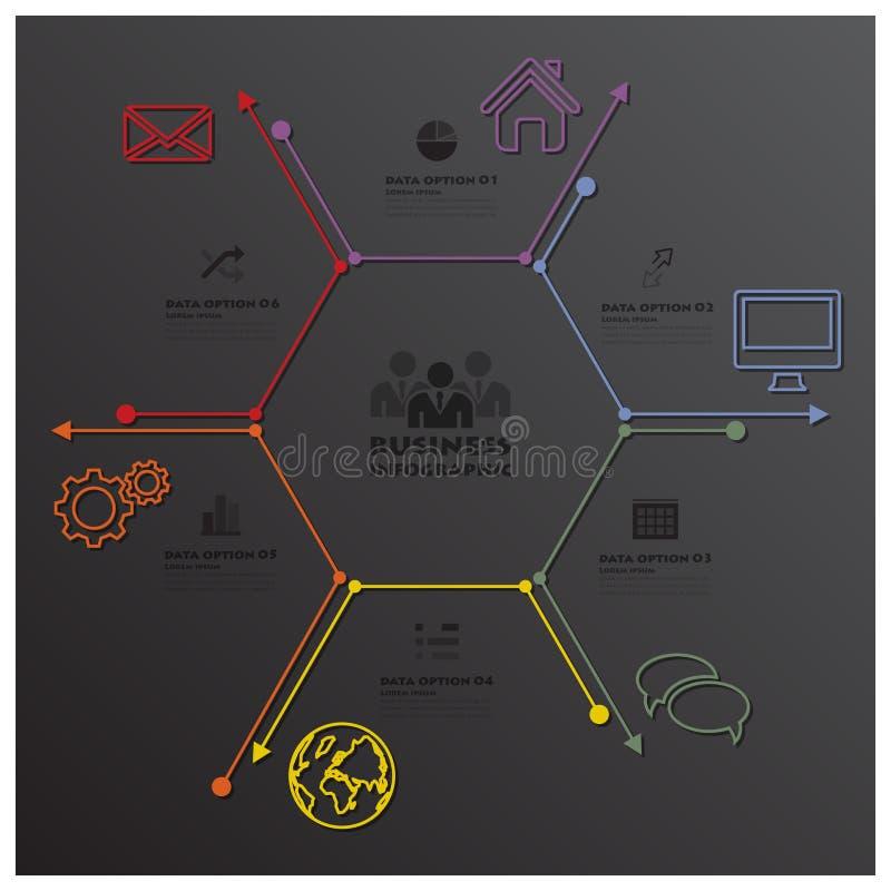 Linea geometrica affare Infographic di esagono moderno di forma royalty illustrazione gratis