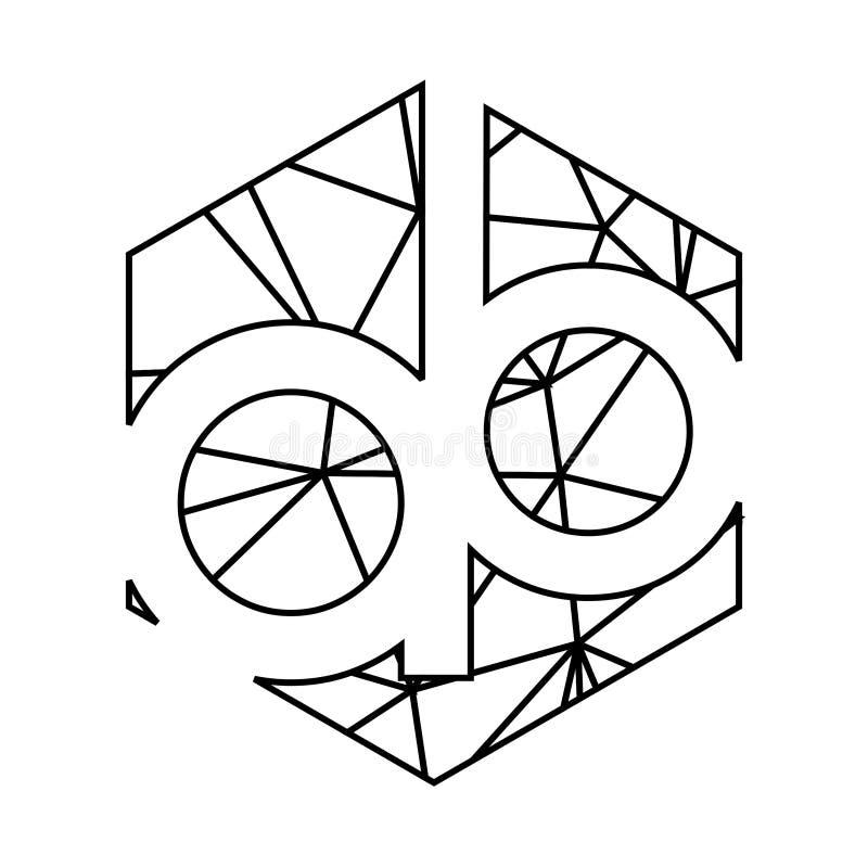 Linea geometrica logo del triangolo di iniziali di ab di arte illustrazione di stock