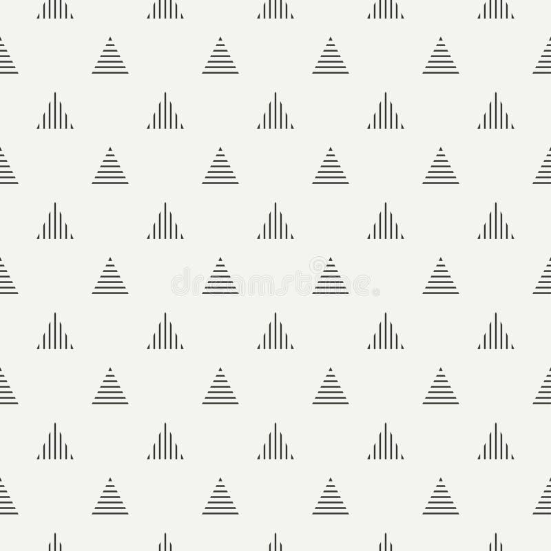 Linea geometrica modello senza cuciture dei pantaloni a vita bassa astratti monocromatici con il triangolo Carta da imballaggio C illustrazione vettoriale