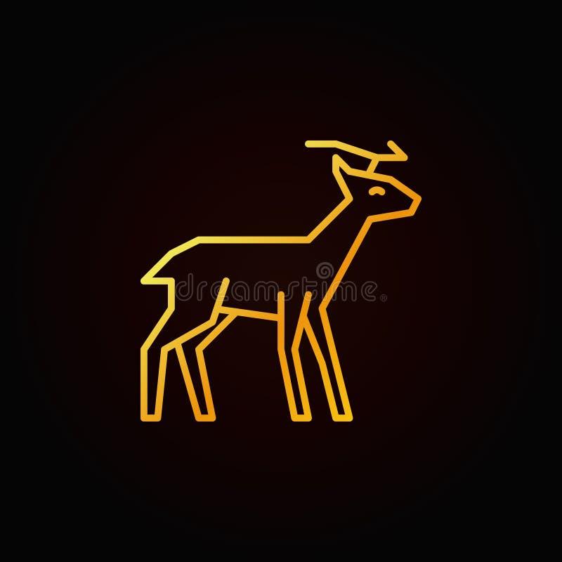 Linea gialla icona di vettore della renna Simbolo lineare dei cervi royalty illustrazione gratis
