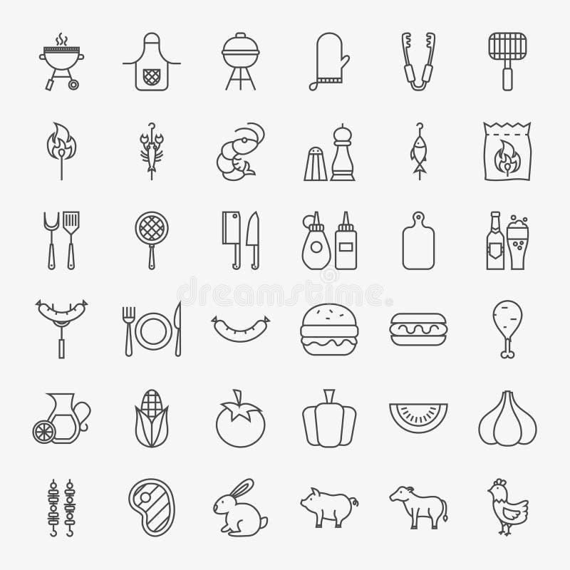 Linea grande insieme del barbecue delle icone illustrazione di stock