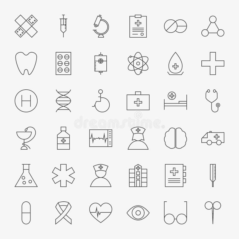 Linea grande insieme delle icone mediche illustrazione vettoriale