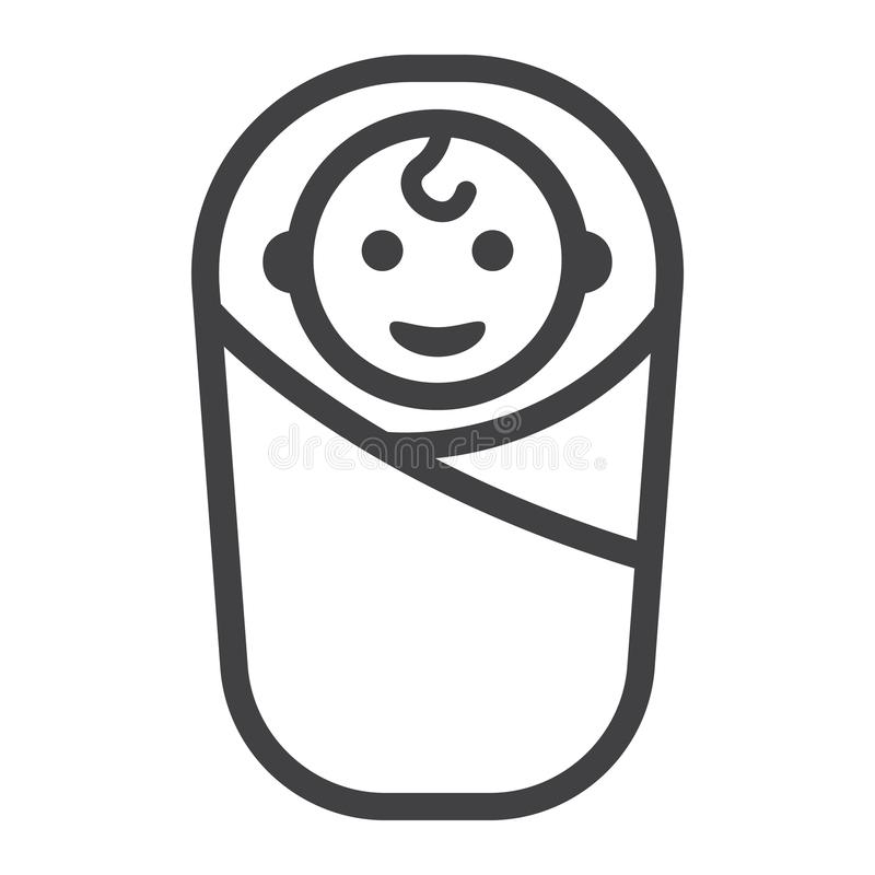 Linea icona, bambino e neonato di nascita del bambino illustrazione di stock