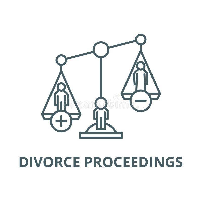 Linea icona, concetto lineare, segno del profilo, simbolo di vettore di atti di divorzio royalty illustrazione gratis